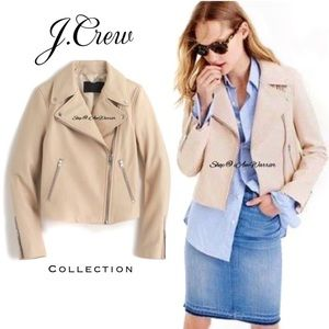 J.Crew Collection tan leather motorcycle jacket